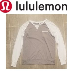 LULULEMON Long Sleeve Gray and White Stripe Tshirt